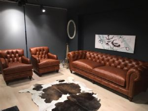 LONDON OFİS  REAL LEATHER CHESTERFİELD