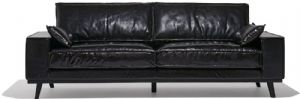 REAL LEATHER BLACK OFFICE SOFA